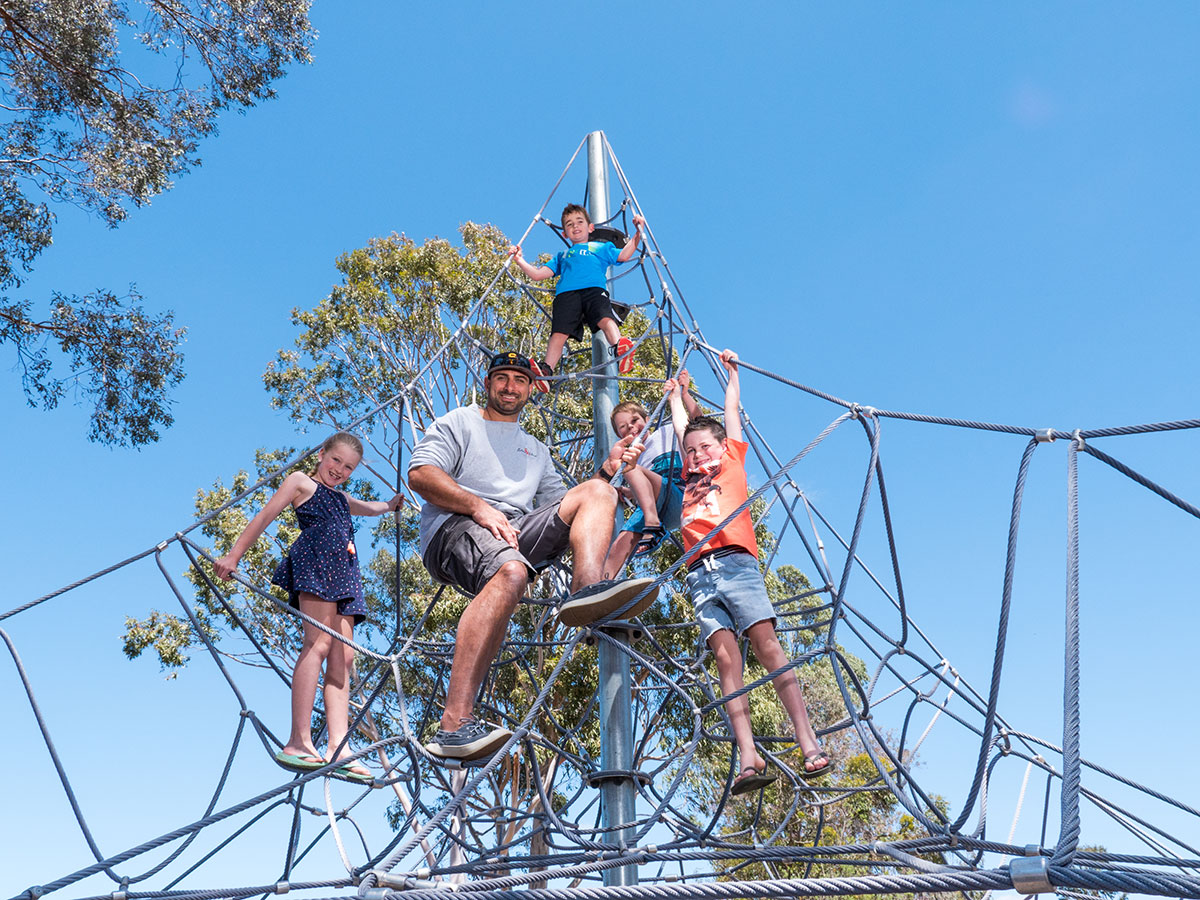 Challenge the kids to the ropes climb.