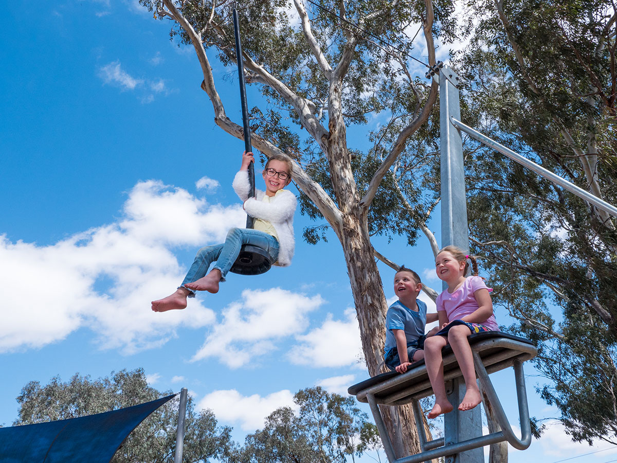 Hang with friends on the in-house flying fox.